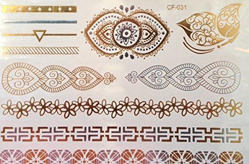 Mandala et Bracelet Tatouages Temporaires Métalliques tatouages flash bijoux de peau g53