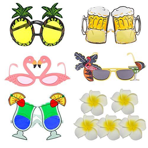 EQLEF Hawaii Sonnenbrille Party Set Neuheit-Abendkleid-Gläser Tropische themenorientierte Partei-Tasche Ananas-Flamingo-Biergläser mit Partei-Haar-Klammern für Dekor und Spaß