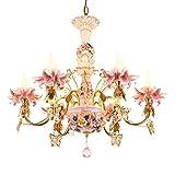 ALUK-Nice chandelier Französisch Stil Luxus Kristall Kronleuchter Europäischen Stil Wohnzimmer Schlafzimmer Kinderzimmer Mädchen Prinzessin Keramik Rosa Kronleuchter