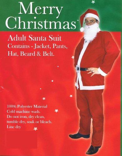 Erwachsene Größe Fancy Dress Weihnachtsmann Sankt-Klage-Kostüm - Hut - Anzug - Bart - Gürtel - Packung mit 10 Weihnachts (Anzug Erwachsene Kostüme Santa)