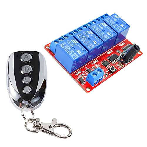 Almencla Wireless RF Ultrathin Fernbedienung Relais Schalter Receiver 4 Kanal 12V - Metall Copy -