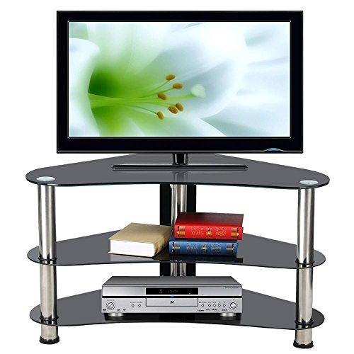 Tinkertonk Modern Corner Tv Stand Cabinet Unit Black Glass Storage Shelf Chrome Legs