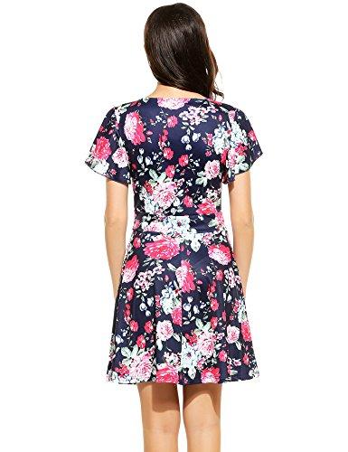 ... ACEVOG Damen Elegant Blumendruck Kleid Partei Freizeitkleider Kurz Kleid  Strandkleid A-Linie Knielang Cap Sleeves ... 5d05f10359