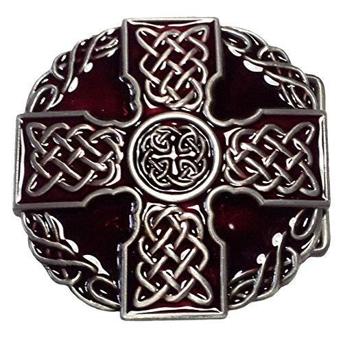 Boucle Croix celtique, croix celtique, rouge, boucle de ceinture