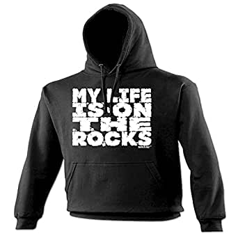 MY LIFE IS ON THE ROCKS - ADRENALINE ADDICT (S - BLACK) NEW PREMIUM HOODIE - slogan funny clothing joke novelty vintage retro top mens ladies girl boy sweatshirt men women hoody hoodies fashion urban cool geek shirt climb climber rock mountain climbing bouldering shoes chalk rope equipment day for him her brother sister mum dad daddy father mother mummy birthday ideas Christmas present gift S M L XL 2XL 3XL 4XL 5XL - by Fonfella