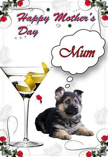 (German Shepherd Dog Puppy nmd137lustig Niedlich Glücklich Muttertag, personalisierbar mit)