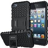 ykooe Touch Hülle, iPod Touch 5 Hülle, (TPU Series) Silikon Stoßfest Touch 6 Schutzhülle Ständer Armor Drop Resistance Schutz Hülle für Apple iPod Touch 5G 6G (Schwarz)