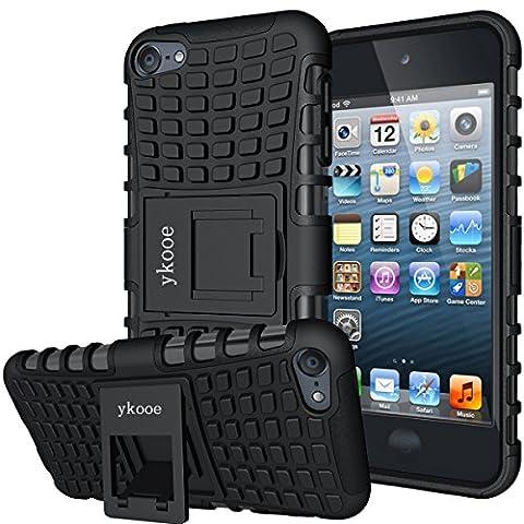 Touch Hülle, iPod Touch 5 Hülle, ykooe (TPU Series) Silikon Stoßfest Touch 6 Schutzhülle Ständer Armor Drop Resistance Schutz Hülle für Apple iPod Touch 5G 6G (Schwarz)
