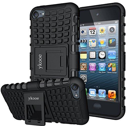 ykooe iPod Touch Hülle für Apple iPod Touch 5/6/ 7 Hülle, (TPU Series) Silikon Stoßfest Touch 6 Schutzhülle Ständer Armor Drop Resistance Schutz Hülle für Apple iPod Touch 5G 6G 7G (Schwarz) - Ipod Touch Ständer
