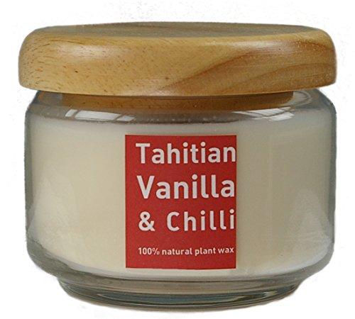 (Natur Kerze VANILLE & CHILLI PFEFFER aus Pflanzenwachs im Glas (350 ml) mit Holzdeckel, beduftet mit hochwertigen Parfümölen)