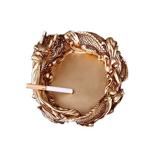QAS Kreative Persönlichkeit Jinlong Aschenbecher - Harz Hause Aschenbecher - Dekorative Dekoration,Gold,groß