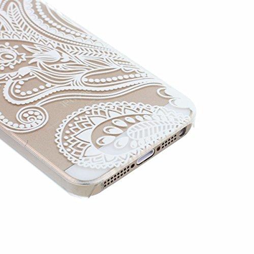 ARTLU® Henna White Floral Paisley Flower Mandala Cuir Coque Strass Case Etui Coque étui de portefeuille protection Coque Case Cas Cuir Swag Pour iphone 5/5S A3 10