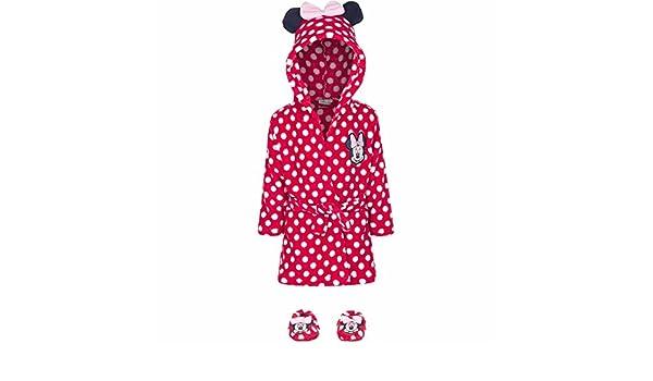 Cadeau Naissance Peignoir Pantoufles Disney Minnie 9//12 Mois Rouge