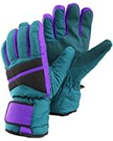 Mens Padded Thermal Microfibre Thinsulate Palm Grip Ski Gloves With Velcro Strap