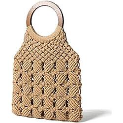 Bolso de Mano Mujer, Bolso de Playa Plegable Bolsa de Asas Bolsa de Algodon Punto Tejida Crochet Casual Moderno para Dama Verano Mar