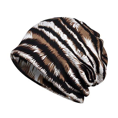 Kinlene Damen Indien Muslim Stretch Turban Hut Streifen Print Haarausfall Kopftuch Wrap
