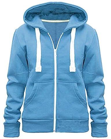 New Stylish Women Ladies Plain Zip Hoodie Size 6-14 (UK SIZE 14, DENIM)