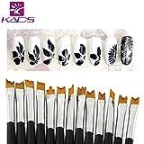 KADS, set di 12 pennelli per nail art. Set professionale per decorare e dipingere le unghie, con pennelli per disegni dettagliati e per realizzare pois