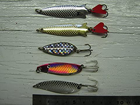 De serveuse, 5de l'article Lot de Toby style Cuillère Spinners + 1boîte: environ 5g–7g leurres saumon Idéal pour basse Pike truite de mer de pêche, etc..