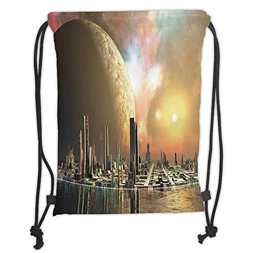 g Backpacks Bags,Cityscape,Utopia Islands Floating Future Cities Imaginary Fantasy Artwork Futuristic,Yellow Peach Soft Satin,5 Liter Capacity,Adjustable String Closure,Th ()