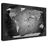 LANA KK Weltkarte Leinwandbild mit Korkrückwand zum pinnen der Reiseziele Deutsch Kunstdruck, schwarz/Weiß, 60 x 40 cm