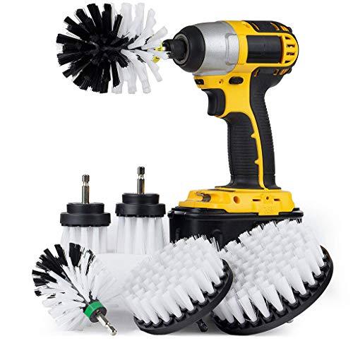 MMLC Drill Brush fliesenreiniger bürste Elektrisch,Power Scrub bürste bohrmaschine bürstenaufsatz für Auto, Teppich, Badezimmer, Holzboden, Waschküche exc 6Pc (White) -
