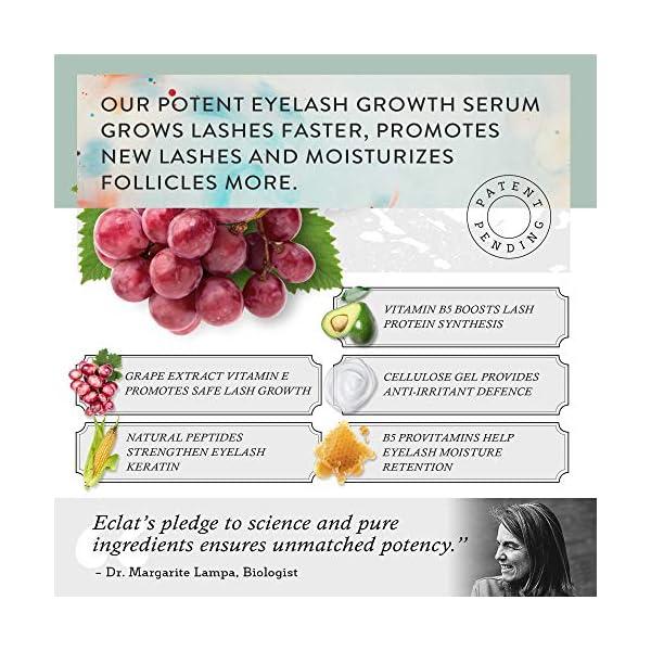 Sérum para Crecimiento de Pestañas Eclat – Poder de los Péptidos y Extracto de Uva Natural Vitamina E Potenciador para…
