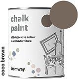 Hemway Kreidefarbe mattes Finish Wand- und Möbel-Farbe 1 L, Shabby Chic Vintage Chalky (14Farben erhältlich), braun