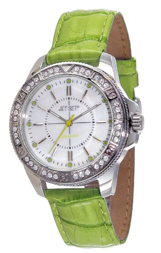 Jet Set – J50974-134 – Amsterdam – Ladies Watch – Analogue Quartz – Mother of Pearl Dial Green Leather Strap
