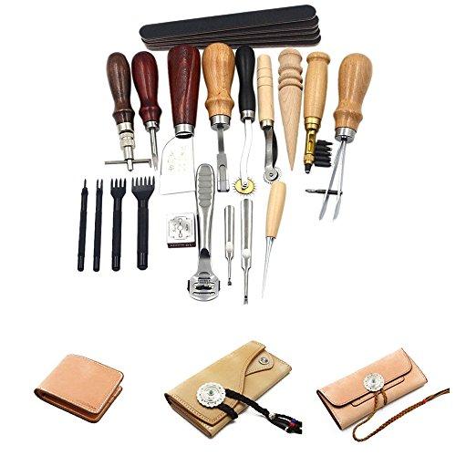 JUEYAN 18-TLG Leder Werkzeug Nähwerkzeuge Leder Lederverarbeitung Werkzeug Set zum Nähen von Leder Ledernadeln Stitching Lederhobel Sattler Stitching Handwerk DIY