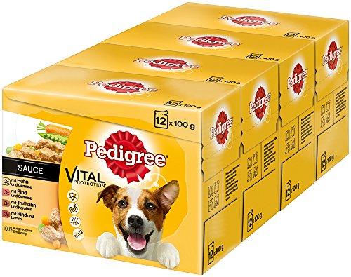 Pedigree Vital Protection, Hochwertiges Hundefutter Huhn, Rind und Truthahn, 48 Beutel (4 x 12 x 100 g)