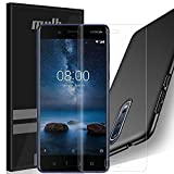 MYLB Nokia 8 Screen Protector with case,[3 Pack] 2x Soft TPU Full cover Screen protector film with 1x PC hard back cover case for Nokia 8