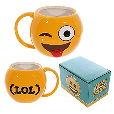 Puckator Emoji Big Winking LOL Ceramic Coffee Mug