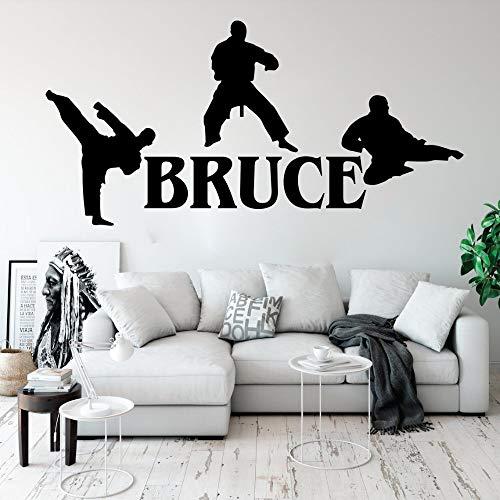 jiuyaomai Benutzerdefinierte Name Martial Karate Taekwondo Wandtattoo Jungenzimmer Kinderzimmer Personalisierte Boxen Judo Sport Wandaufkleber Schlafzimmer Vinyl 114 cm breit x 56 cm hoch