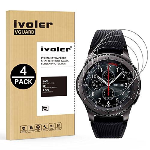 iVoler [4-Unidades] Protector de Pantalla Samsung Gear S3 Frontier/Classic, Cristal Vidrio Templado Premium para Samsung Gear S3 Frontier/Classic [9H Dureza] [Alta Definicion 0.2mm] [2.5D Round Edge]