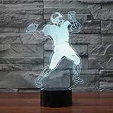 Illusion-Lampe USB des Fußball-Helm-3D führte Nachtlicht geführte Acrylbunte Lichter Hologramm-Kindertischlampe-Atmosphäre