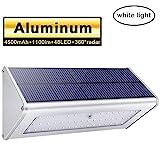Licwshi Luci solari 1100 Lumens 4500mAh esterna impermeabile lega di alluminio Housing, 48LED radar sensore di movimento per Step, Giardino, Cortile, Deck-Luce bianca(2018 nuova versione - 1 pezzo)