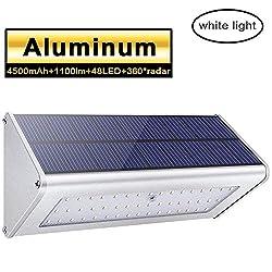 Licwshi 1100 Lumens Solarleuchten 48 LED 4500mAh mit Aluminiumlegierungsgehäuse, Wasserdichtkeit im Freien, Radar-Bewegungsinduktion, es ist geeignet für Laubengang, Garten, Garage -Weißes Licht