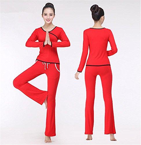 Femmes à manches longues yoga porter costume / vêtements d'entraînement confortable Red