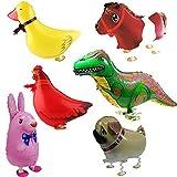 Signstek 6 Wanderschuhe Tiere Ballons-geburtstags-party Dekor Kinder Geschenk - Kaninchen, Dinosaur, Pferd, Duck, Huhn, Pug