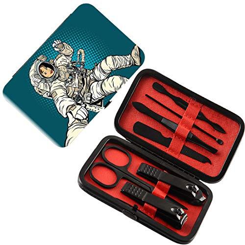 Nagelknipser 7-tlg. Maniküre-Pediküre-Set Weltraum Nagelpflegeset aus Edelstahl,Frau Astronaut Hände mit ihrer besseren Hälfte Pop Art Comic stilisierte Grafik,Multi,Persönliches Werkzeugset für die - Grafik-pop