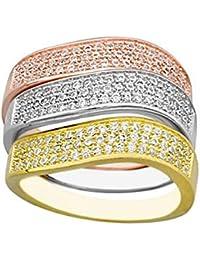 956b5acb294b Sortija Plata Ley 925M Tricolor Anillos Separados Circonitas Mujer Rosa  Plateado Dorado
