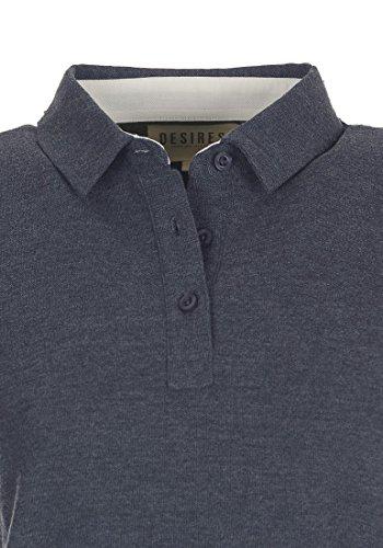 DESIRES Lillian Damen Polo-Shirt Shirt Polo-Kragen aus 100% Baumwolle Insignia Blue Melange (8991)