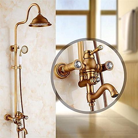 Luxury Brass Shower Faucet Rain Shower Head Tub Faucet Hand Shower diamond Shower Set Retro Faucet