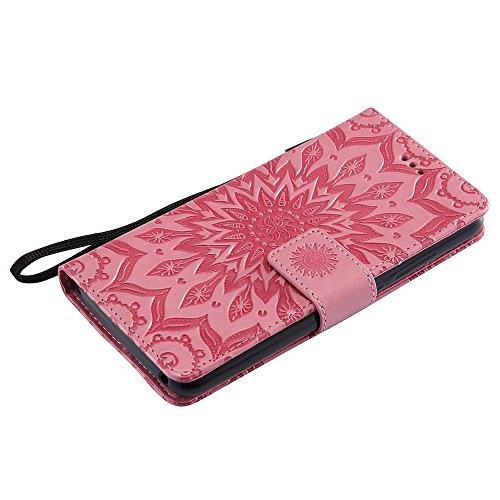 Für Wiko Lenny 3 Fall, Prägen Sonnenblume Magnetische Muster Premium Soft PU Leder Brieftasche Stand Case Cover mit Lanyard & Halter & Card Slots ( Color : Red ) Pink