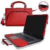 HP Notebook 17 Housse,(2 en 1) spécialement conçu Étui de protection en cuir PU + sac portable Sacoche pour 17.3' HP Notebook 17 17-x000 17-bs000 17-y000 Series Portable Notebook(NON compatible avec ENVY 17 & Pavilion 17),Rouge