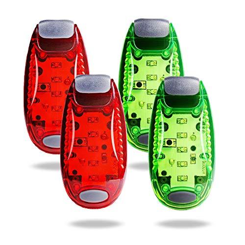 TBoonor LED Sicherheitslicht Clip auf Dauerlicht und Blinklicht Running Lichter für Läufer, Jogger, Wanderer, Kinder, Student,Haustiere (2 Rot 2 Grün)