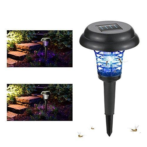 Wgwioo Solar Bug Zapper Insekt Moskito-Killer Lampe, Für Outdoor Garten Rasen Camping Lampe Nacht Protector 2 in 1 (Zapper und Licht),Black,1Pcs -