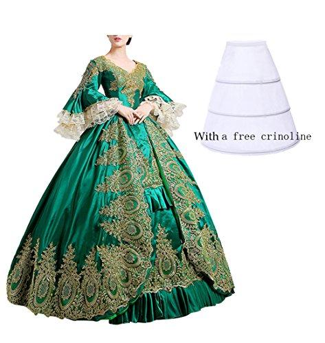 Nuoqi reg;Damen Satin Gothic Victorian Prinzessin Kleid Halloween Cosplay Kostüm grün (36,...
