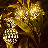 LED Solar Globe String Lights, 12ft 10 LEDs Moroccan Orb Ball, Waterproof Ambiance Lighting, 3000K Warm White, Starry Fairy Lights for Outdoor Garden, Yard, Patio, Party, Home Decoration, Christmas (Moroccan Ball Warm-White)